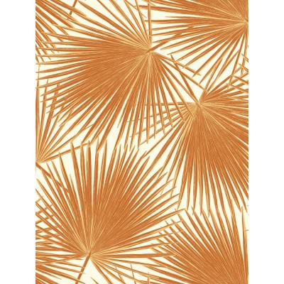 Aruba Tangerine and White Palm Leaf Wallpaper