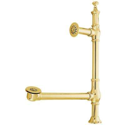 Vintage Edwardian British Lever Style 1-1/2 in. O.D. Claw Foot Tub Drain, Polished Brass