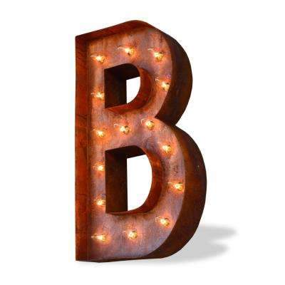 Modern American 24 in. High Rusted Steel Alphabet Letter B Marquee Lights