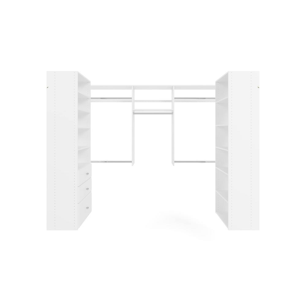 Closet Evolution 60 in. W - 96 in. W White U-Shaped Wood Closet System