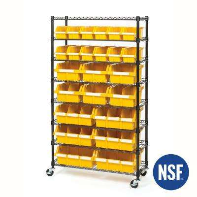 63.5 in. H x 36 in. W x 14.25 in. D 8-Tier Steel Wired Wheeled Commercial Bin Rack System, Black with 24 Yellow Bins