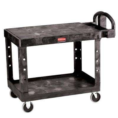 Heavy Duty 2-Shelf Resin Utility Cart in Black with Flat Shelf in Medium
