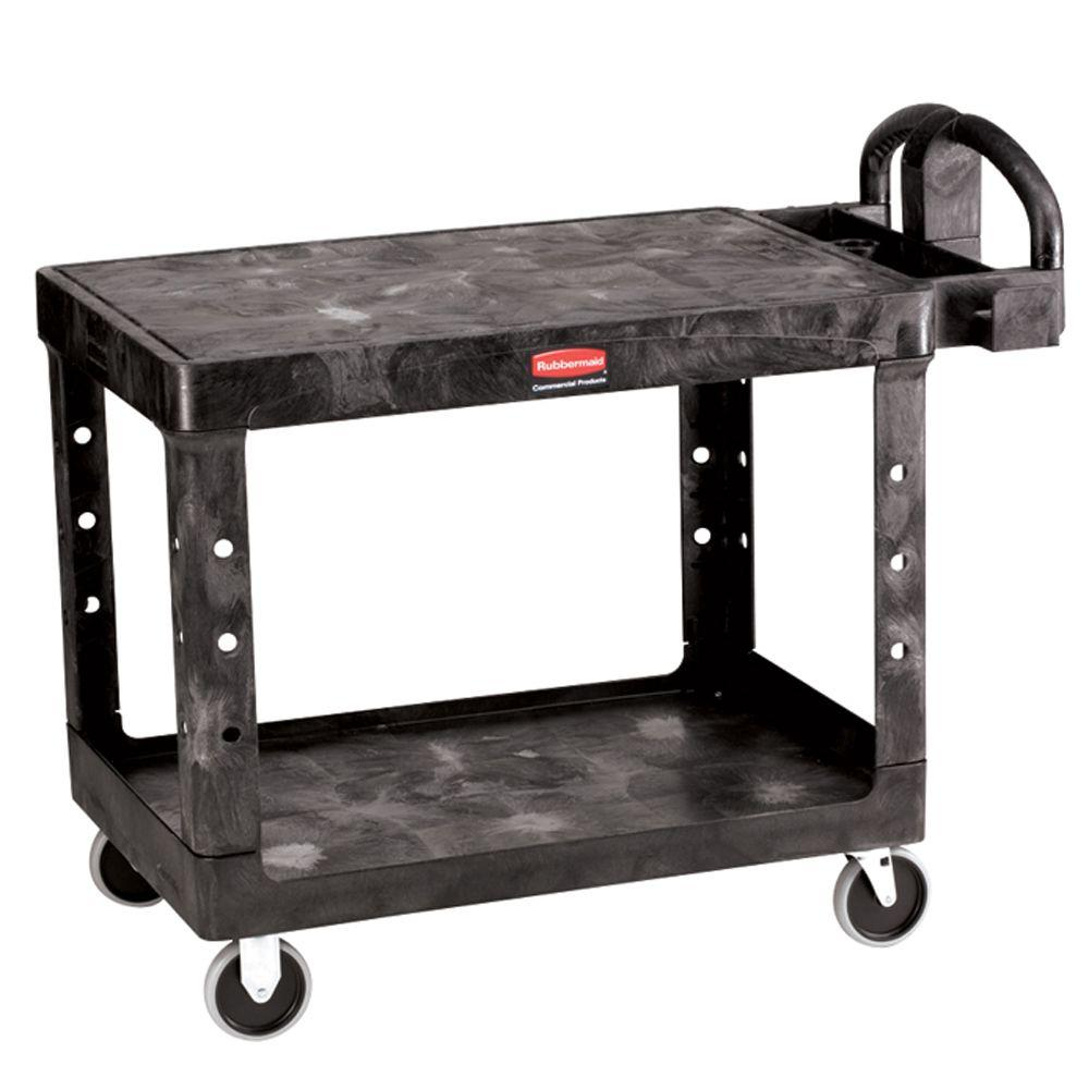 Rubbermaid Commercial Products Heavy Duty Black 2 Shelf Utility Cart With  Flat Shelf In Medium