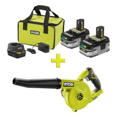 18-Volt ONE+ LITHIUM+ HP 3.0 Ah Battery (2-Pack) Starter Kit with Charger and Bag w/ Bonus ONE+ Compact Workshop Blower