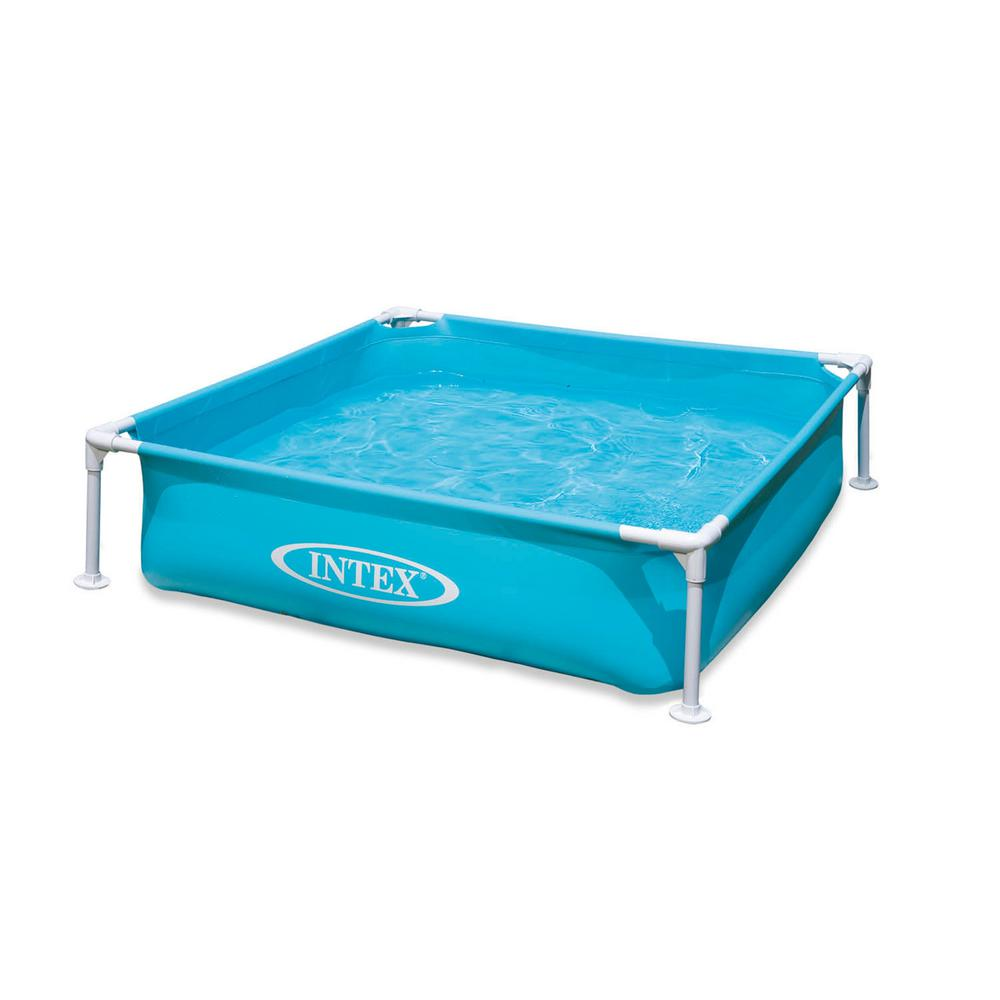 Intex Mini Frame Kiddie Square 4 ft. x 4 ft. x 6 in. Deep Beginner Frame Swimming Pool in Blue
