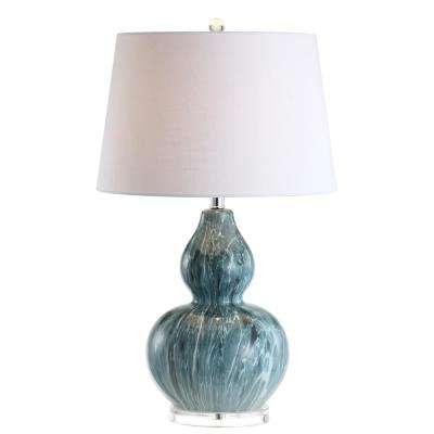 Stockholm 28.5 in. Blue Glaze Ceramic LED Table Lamp
