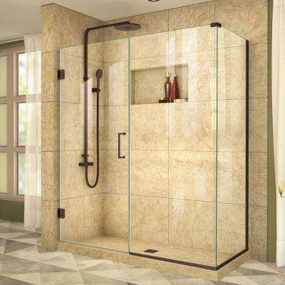 Unidoor Plus 34-3/8 in. x 58-1/2 in. x 72 in. Frameless Hinged Corner Shower Enclosure in Oil Rubbed Bronze