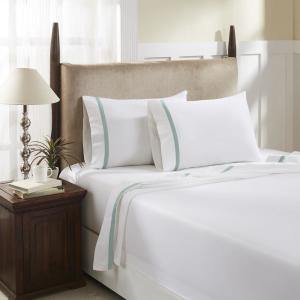 Devonshire Collection Of Nottingham 4 Piece Light Blue Solid 350 Thread Count Cotton Full Sheet Set T350f Pl Lbl The Home Depot