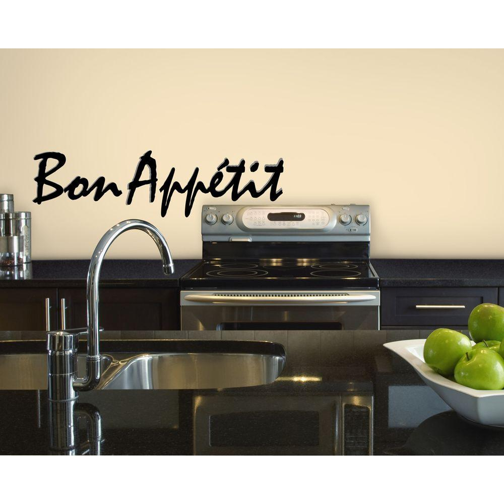 Snap 8.56 in. x 19.88 in. Black and Gray Bon Appetit Wall Decal