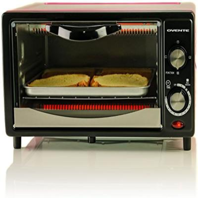 800-Watts Electric Pink Toaster Oven 3 Cooking Modes 30 Min Timer Crumb Tray, Tempered Glass Door