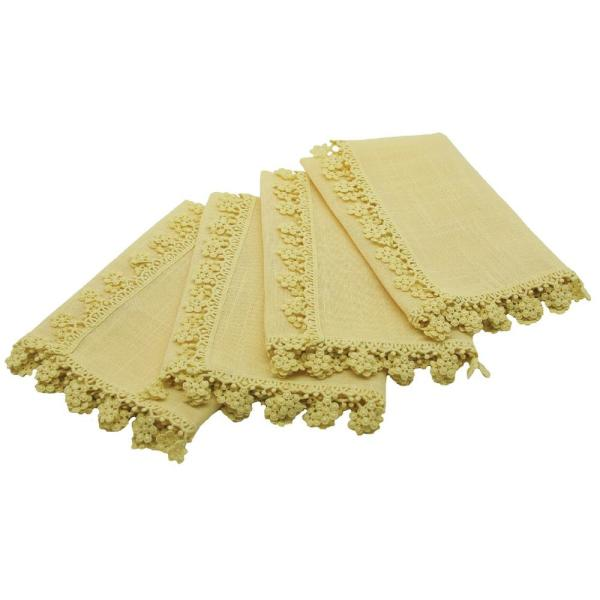 Charm Lace 20 in. x 20 in. Pastel Yellow Floral Trim Napkins (Set of 4)