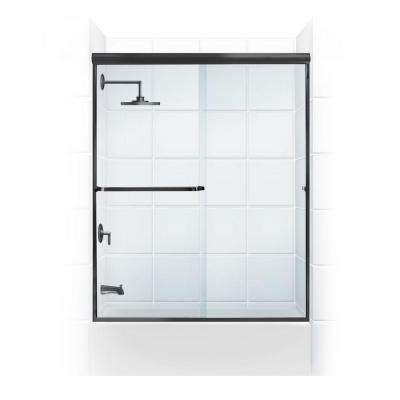 Paragon 3/16B Series 60 in. x 57 in. Semi-Framed Sliding Tub Door with Towel Bar in Black Bronze and Clear Glass