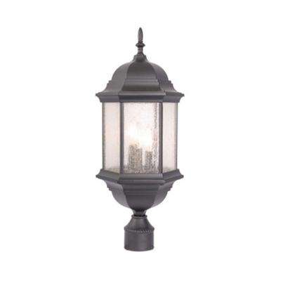 Madison 3-Light Matte Black Outdoor Post-Mount Light Fixture