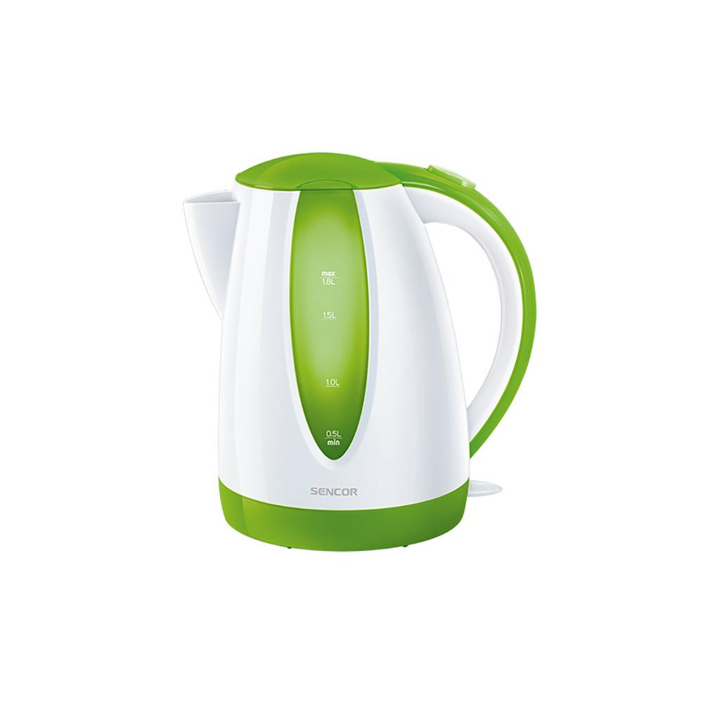 Sencor 7.6-Cup Cordless Green Electric Kettle with Automatic Shut Off Cordless electric kettles by Sencor heats water twice as fast as stove top, offering better speed, convenience, energy efficiency and safety This electric kettle comes with a 360° swivel and bright finish. Color-coordinate with other kitchen electrics by Sencor to create a beautiful kitchen with European design touch. Color: Green.