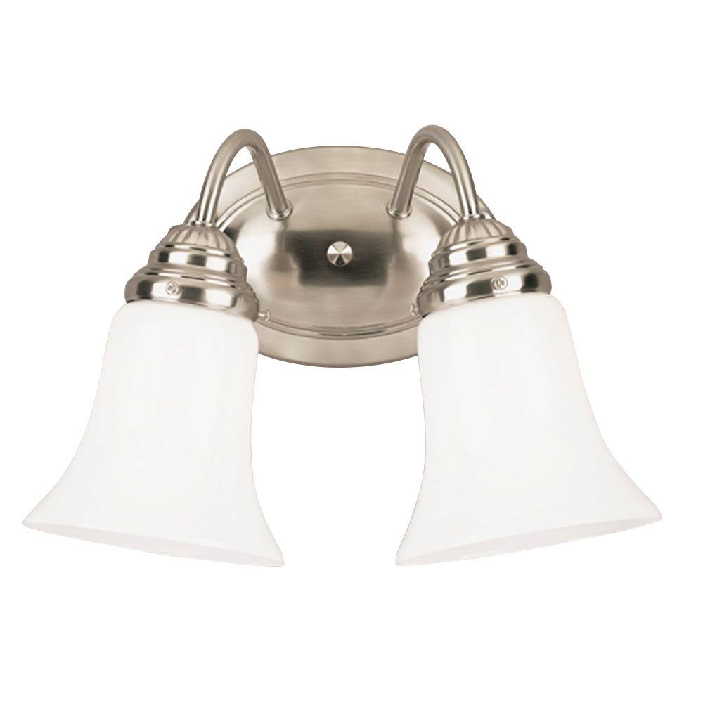 Westinghouse 2 Light Interior Brushed Nickel Wall Fixture With White Opal Glass