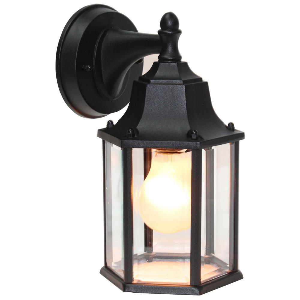 1 Light Black Outdoor Wall Lantern Sconce Lighting Nbol1014med The Home Depot