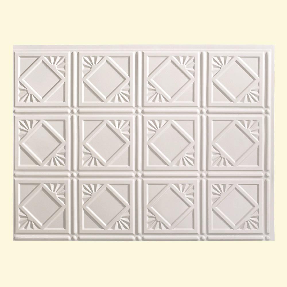 24 in. x 18 in. Traditional 4 PVC Decorative Backsplash Panel in Gloss White