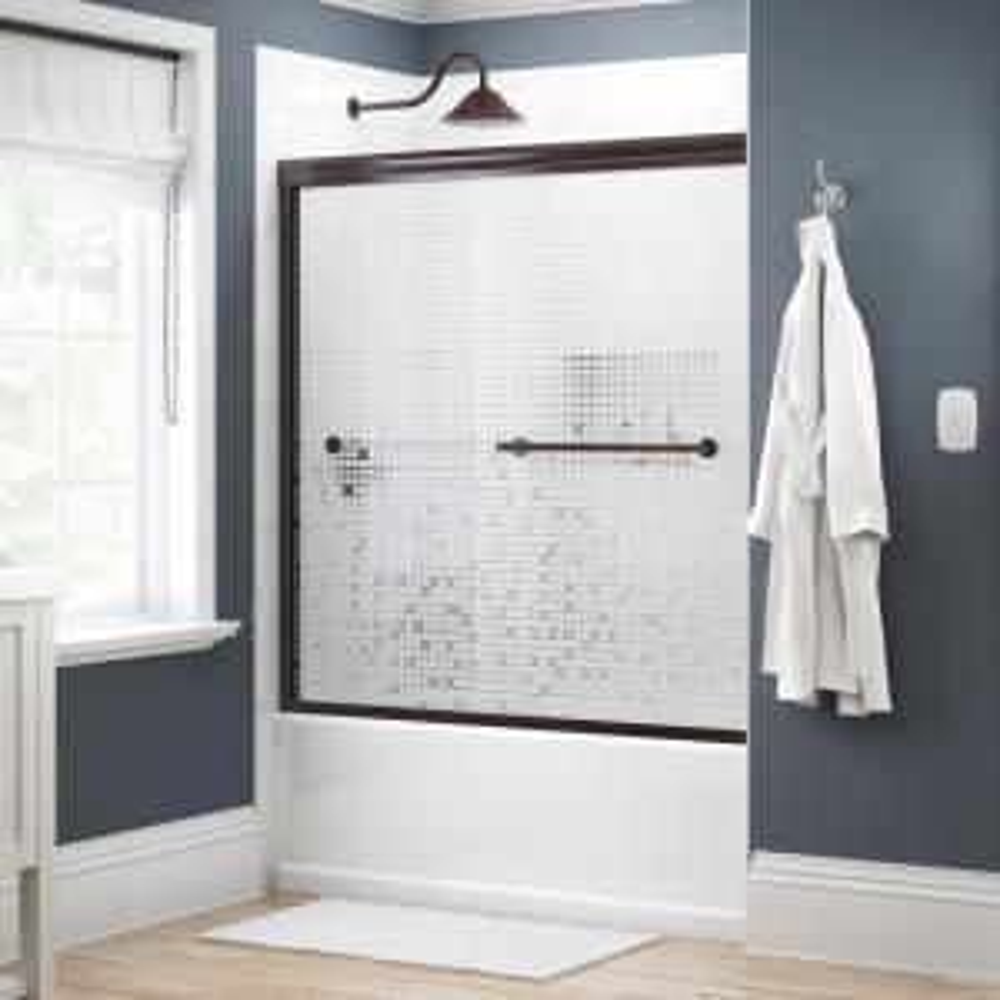 Crestfield 60 in. x 58-1/8 in. Traditional Semi-Frameless Sliding Bathtub Door in Bronze and 1/4 in. (6mm) Mozaic Glass