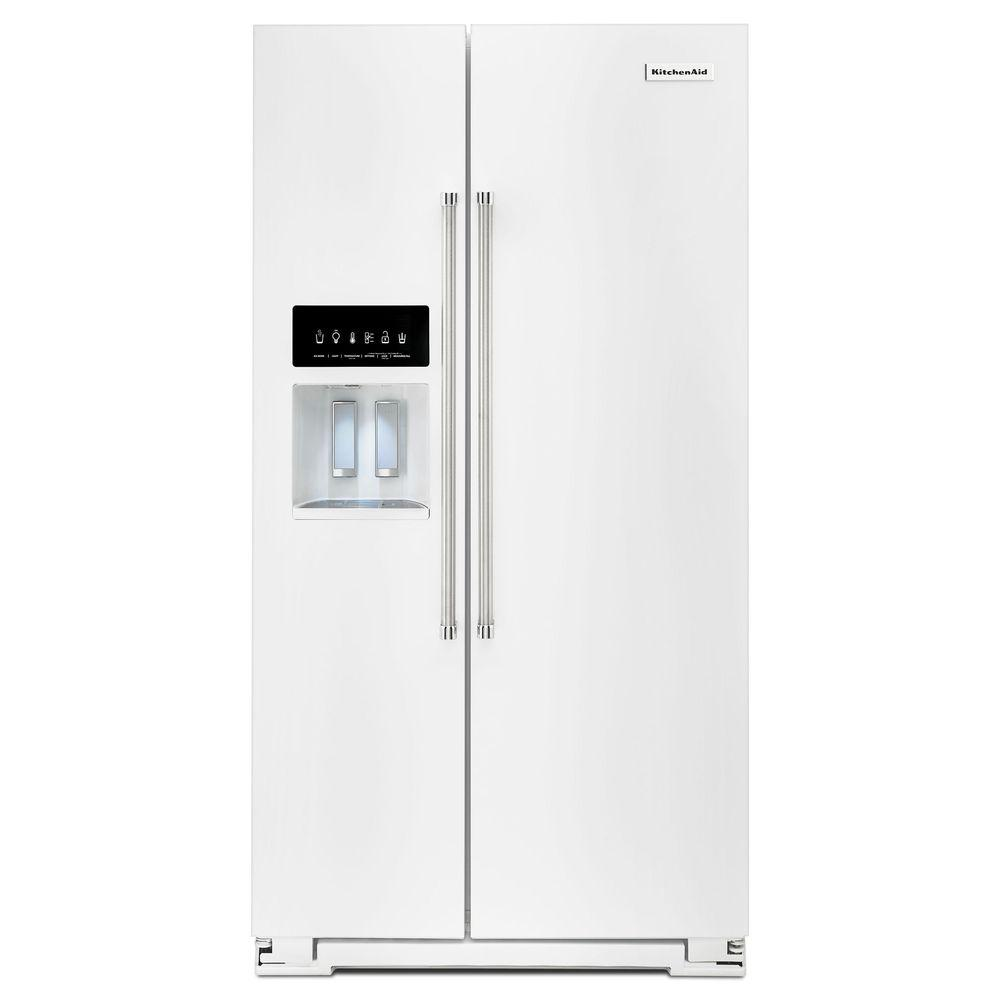 KitchenAid 36 In. W 24.8 Cu. Ft. Side By Side Refrigerator In White
