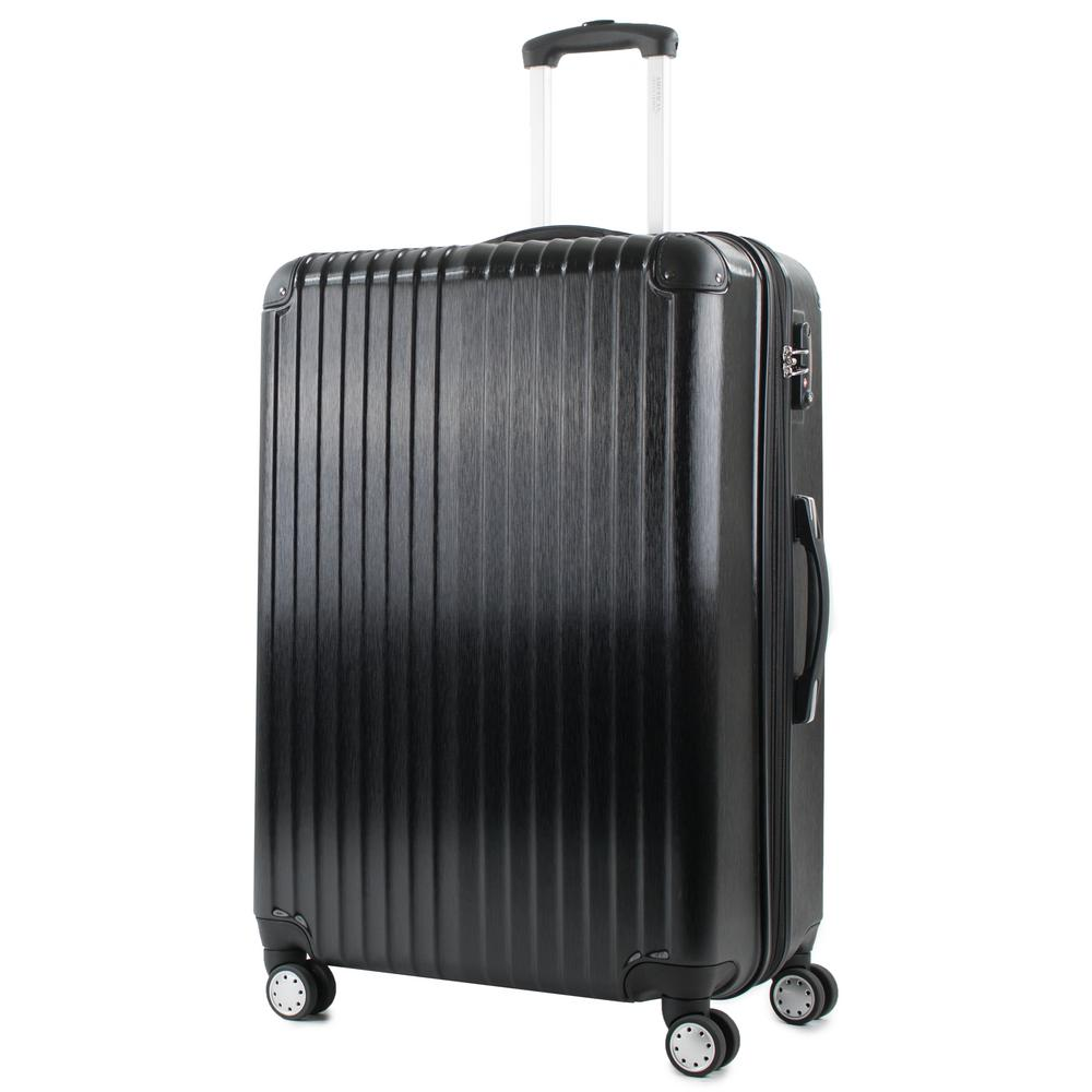 Melrose 25 in. Black Polycarbonate Expandable Spinner Luggage with TSA Lock