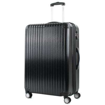 Melrose 25 in. Black Polycarbonate Expandable Spinner Luggage with TSA Lock and Corner Guards
