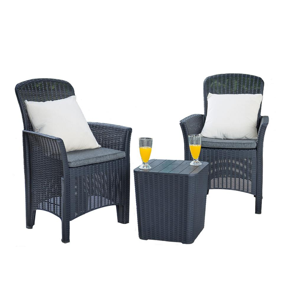 Direct Wicker Susanna Black Plastic Outdoor Dining Chair With Gray Cushions And Coffee Table 2 Pack