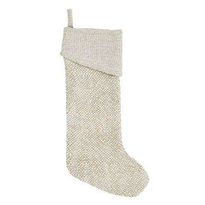 20 in. Neve Pearl White Glam Christmas Decor Stocking