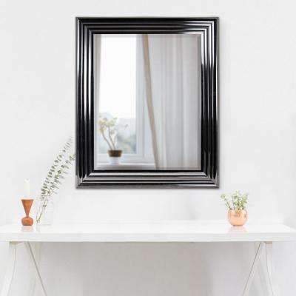 Everett Rectangular Black Vanity Mirror
