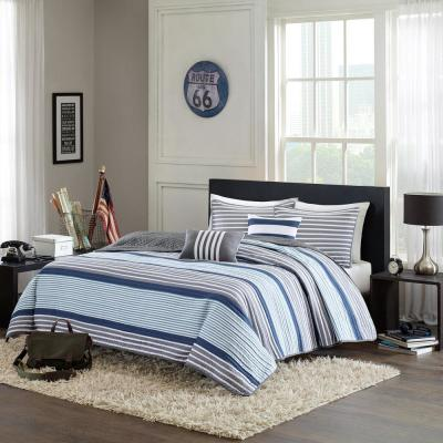 Matteo 4-Piece Blue Twin/Twin XL Striped Coverlet Set