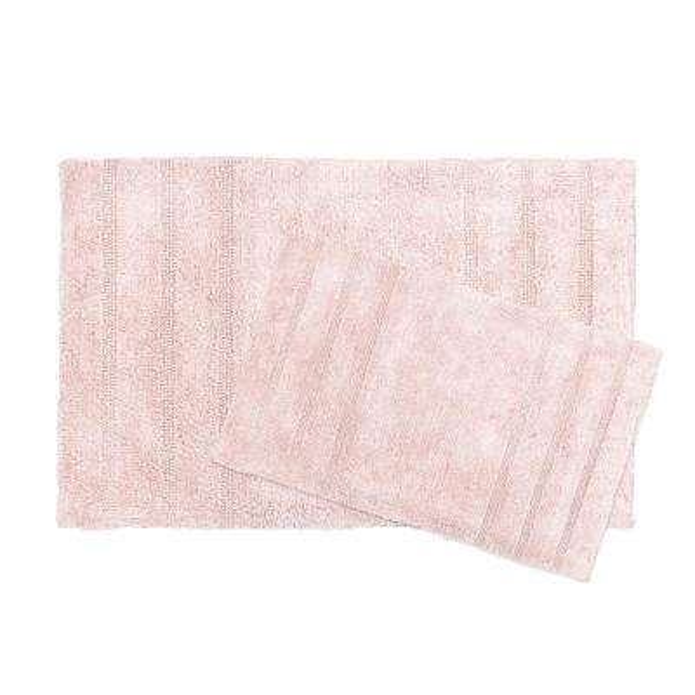 Newton Blush Stripes 2-Piece (17 in. x 24 in.; 21 in. x 34 in.) Bath Mat Set