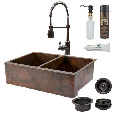 All-in-One Farmhouse Apron-Front Copper 33 in. 0-Hole 50/50 Double Basin Kitchen Sink in Oil Rubbed Bronze