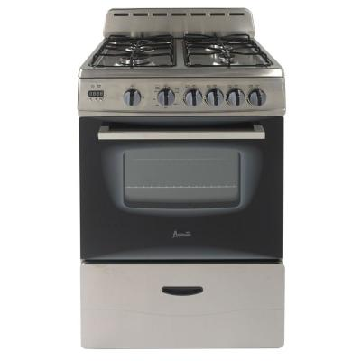 24 in. 2.6 cu. ft. Gas Range in Black and Stainless Steel
