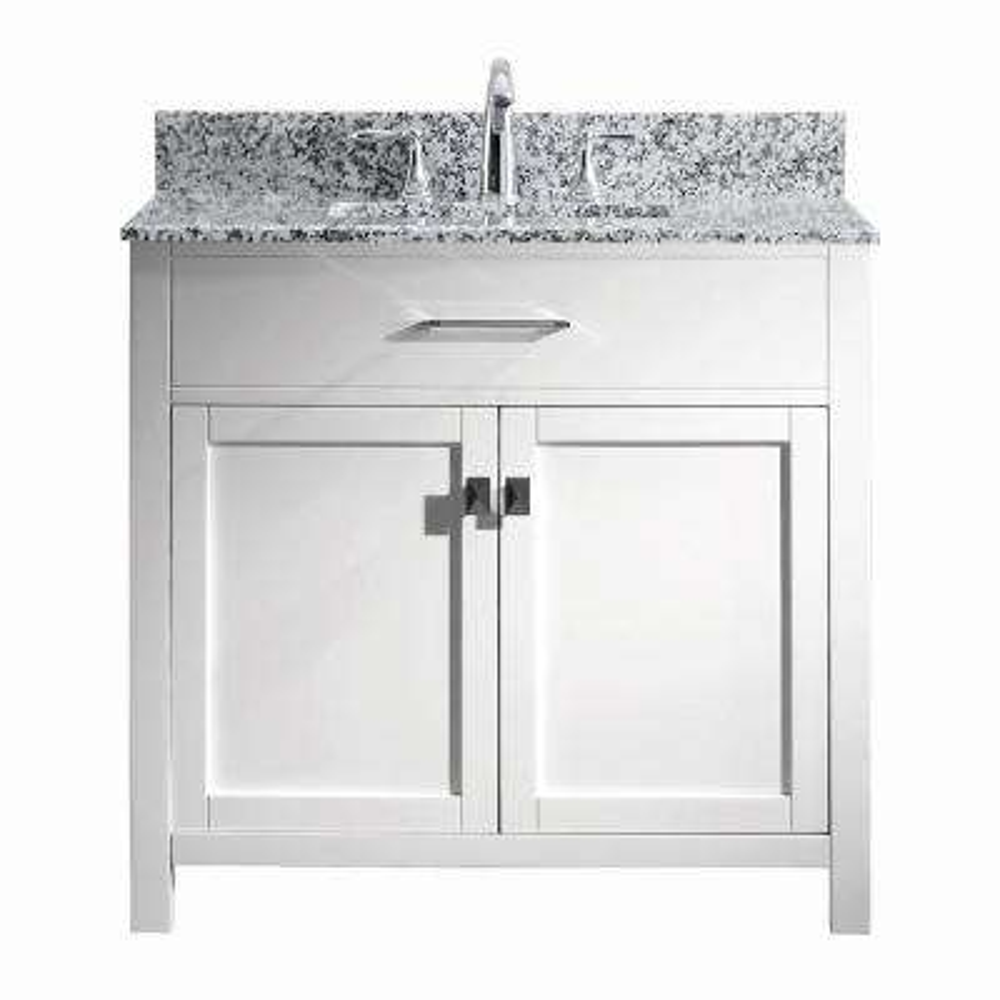 Caroline Madison 36 in. W x 22 in. D Bath Vanity in White with Granite White Vanity Top and Square Sink