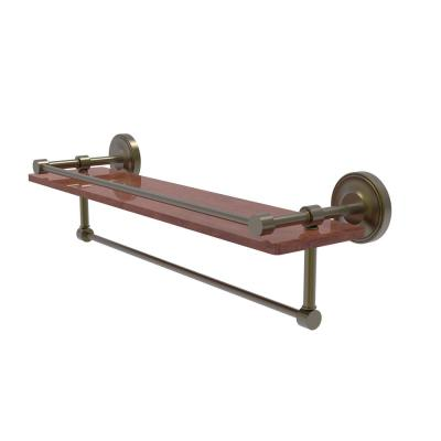 Prestige Regal Collection 22 in. IPE Ironwood Shelf with Gallery Rail and Towel Bar in Antique Brass