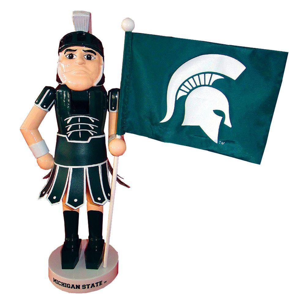 12 in. Michigan State Mascot Nutcracker with Flag