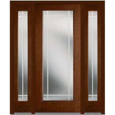64 in. x 80 in. Internal Grilles Left-Hand Full Lite Clear Stained Fiberglass Oak Prehung Front Door with Sidelites