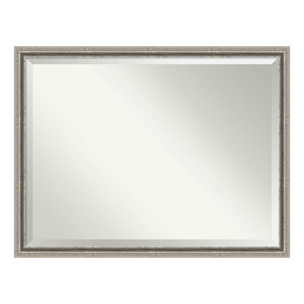 Bel Volto Silver Pewter Wood 43 in. W x 33 in. H Single Contemporary Bathroom Vanity Mirror