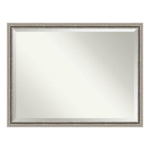 Bel 43 in. W x 33 in. H Framed Rectangular Beveled Edge Bathroom Vanity Mirror in Silver Pewter