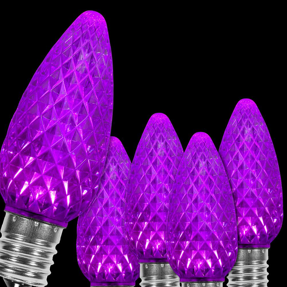 Wintergreen Lighting Opticore C9 Led Purple Faceted Replacement Light Bulbs 25 Pack