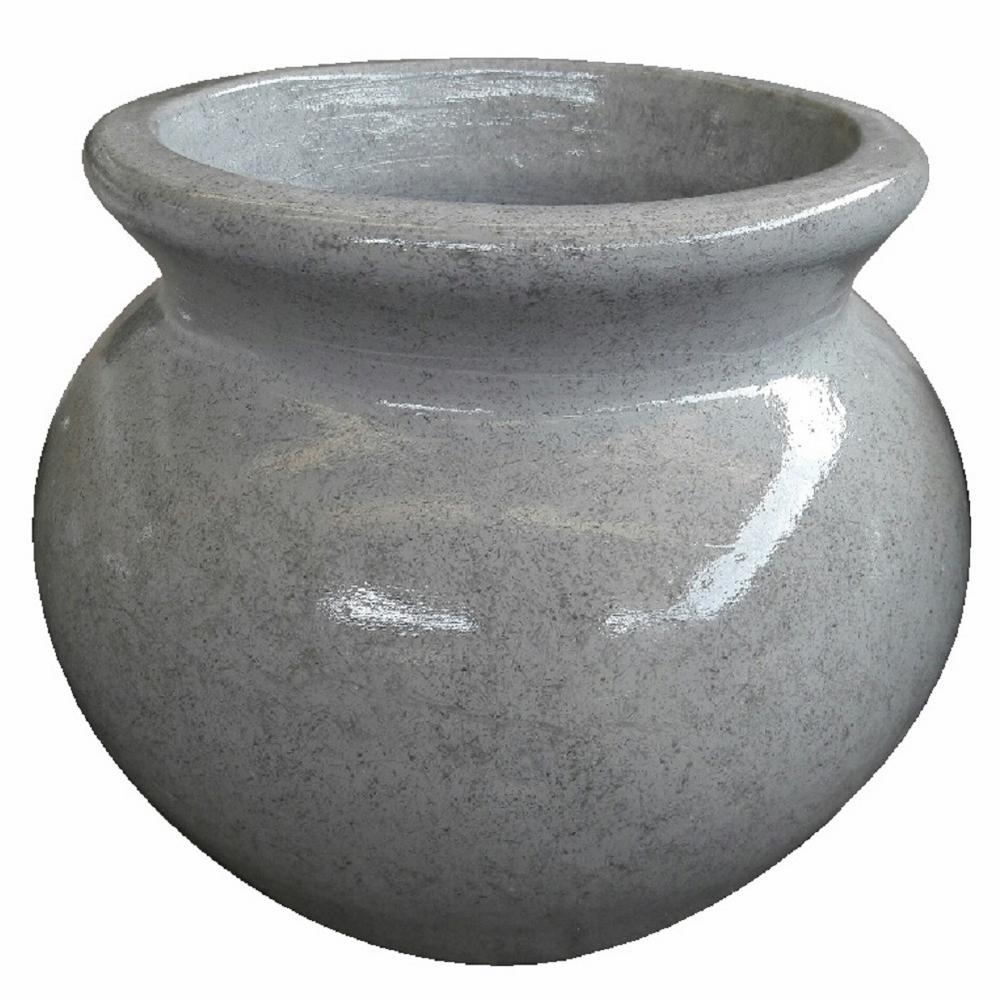 14.5in Wet Cement Cantoro Glazed Clay Pot