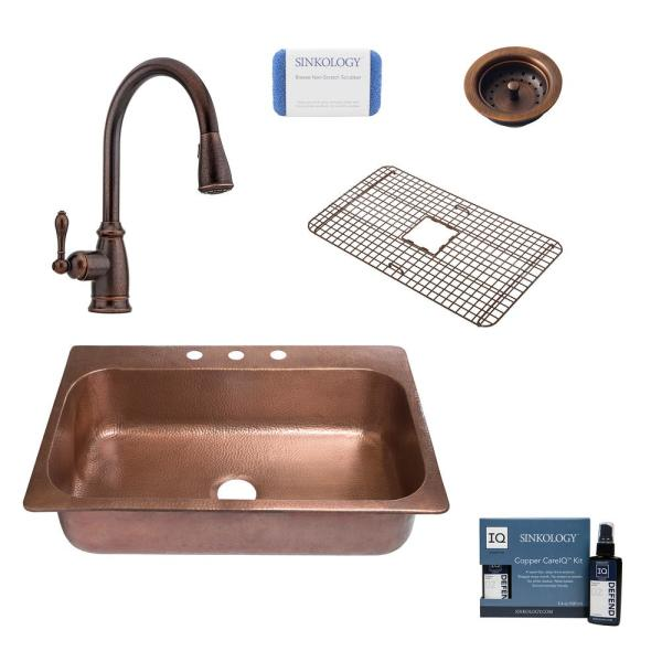 Angelico All-In-One Copper Drop-In 33 in. 3-Hole Single Bowl Kitchen Sink with Pfister Bronze Faucet and Strainer