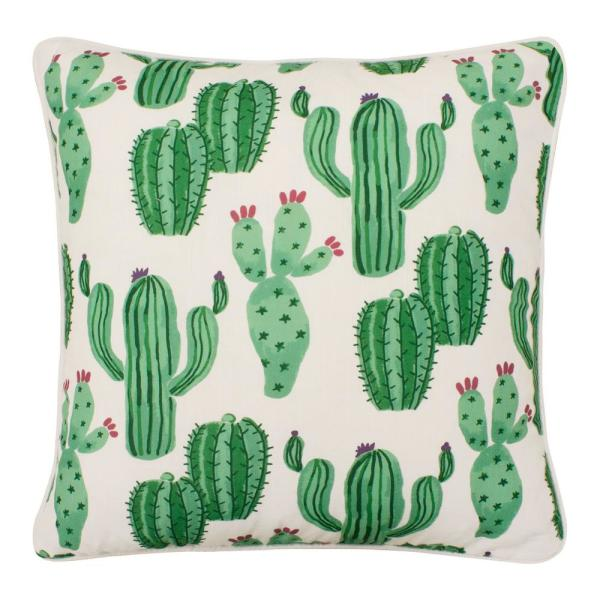 Cusco White and Light Green Floral Down 18 in. x 18 in. Throw Pillow