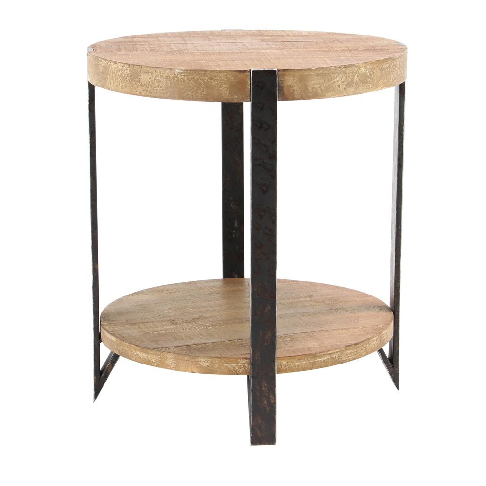 Exceptionnel Litton Lane Brown 2 Tiered Round End Table