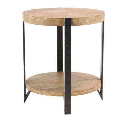 Brown 2 Tiered Round End Table