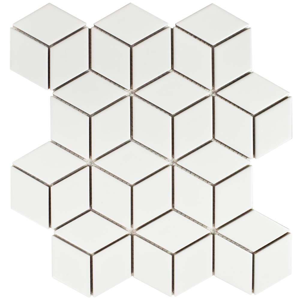 Merola Tile Metro Rhombus Matte White 10-1/2 in. x 12-1/8 in. x 5 mm ...