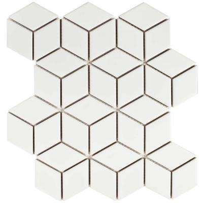 Metro Rhombus Matte White 10-1/2 in. x 12-1/8 in. x 5 mm Porcelain Mosaic Tile (9.04 sq. ft. / case)