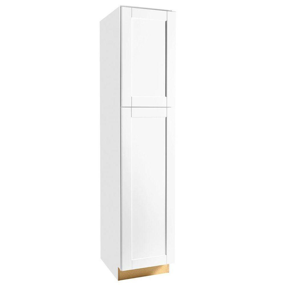 Hampton Bay Shaker Embled 18x84x24 In Pantry Kitchen Cabinet Satin White