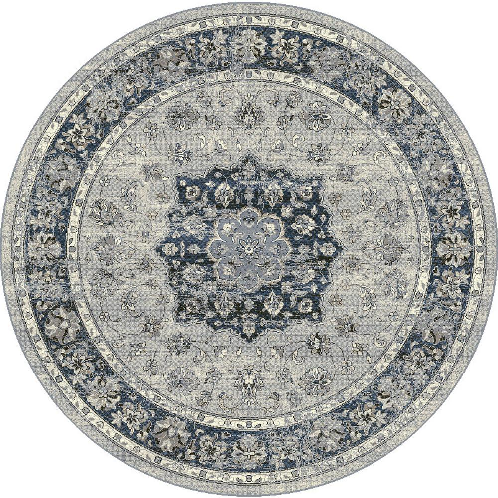 Dynamic Rugs Ancient Garden Silver Blue 5 Ft Round Area