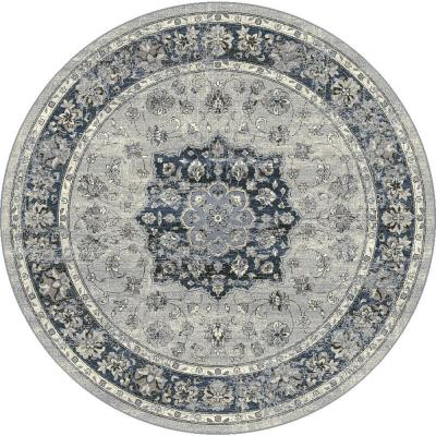 Ancient Garden Silver/Blue 8 ft. x 8 ft. Round Indoor Area Rug
