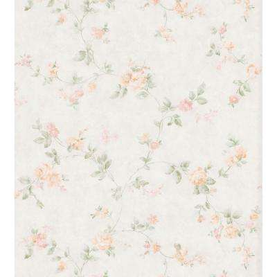 Cameo Rose IV Peach Swag Trail Wallpaper Sample